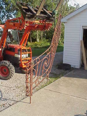 """Antique Ornate Wrought Iron Staircase Railing solid metal 60"""" of rise over 90"""""""