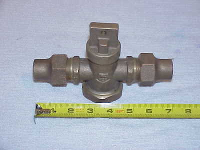 "3/4"" brass Curb Stop Water Valve Service shut-off Union Flare ends"