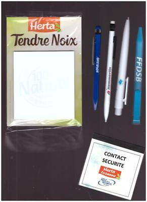 LOT 10 Blocs Note Magnet + 4 STYLOS PUBLICITAIRES + CARNET CONTACT NEUF Herta
