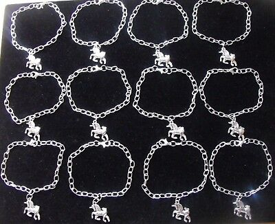 Wholesale Jewellery 12 Childrens Unicorn Charm Bracelets,gifts,party Bags,joblot