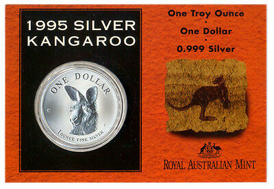 1995 $1 Uncirculated Silver Kangaroo Coin.