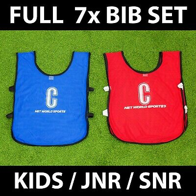 Team Netball Bibs | Full Set Of Lettered Bibs | All Positions | Blue or Red