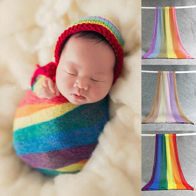 Newborn Baby Girl Boy Crochet Knit Wrap Rainbow Swaddle Photography Photo Props