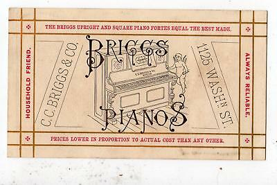 Briggs Pianos*Antique Victorian Trade Card*Cherub