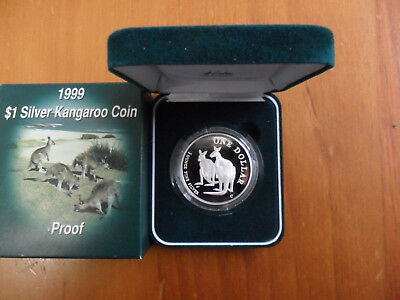 1999 $1 Silver Proof Kangaroo Coin.