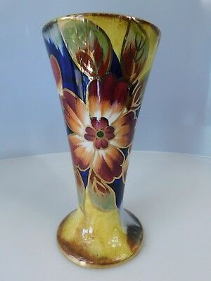 Vintage Old Courtware  Lustre Vase - Flower Design with Guilding to rim
