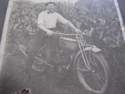 "Early 1900's Man on a Pope Motorcycle in a Corn Field 5"" x 7"" Cabinet Photo"