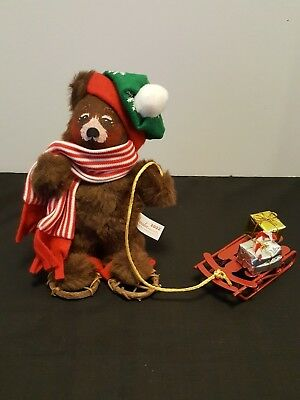 """2002 Anne Lee 8"""" Christmas Delivery Bear With Sled"""
