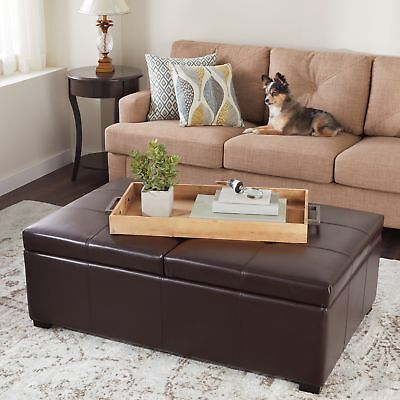 Cool Dark Brown Bonded Leather Double Flip Top Storage Ottoman Andrewgaddart Wooden Chair Designs For Living Room Andrewgaddartcom