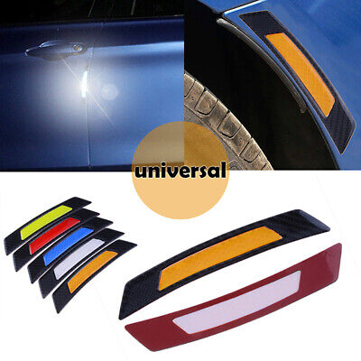 2x Orange Car Warning Safety Reflector Strips Sticker Tape Carbon Fiber Style