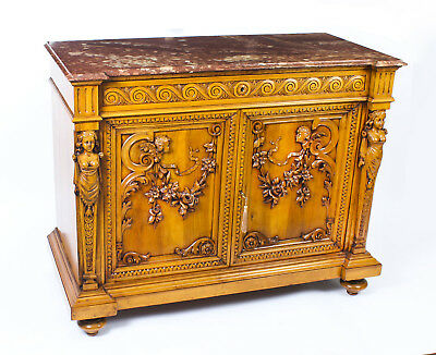 Antique French Carved Walnut Marble Topped  Chiffonier 19th Century