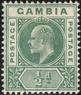 Gambia 1902 KGVI ½d Green with Dented Frame MH