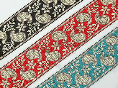 "5.08 Cm 02/"" By Yard Fringe Braid Jacquard Ribbon Trim Floral Silk T896N"