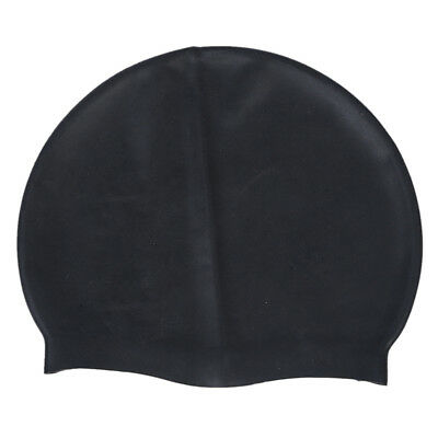 1X(Black Soft Silicone Stretchable Swim Swimming Cap Hat for Adults Q2G1)