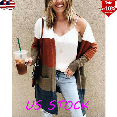 Women's Color Block Long Coat Pocket Cardigan Knitted Tops Outwear Autumn Casual