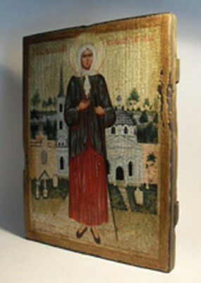 Handmade copy ancient ORTHODOX CHURCH ICON St Xenia of Petersburg 169S