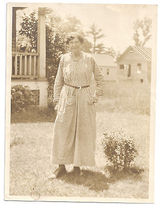 Antique Photo Older Woman Vintage Gingham House Porch Dress ca 1920s Fashion