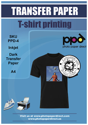 PPD A4 Dark Inkjet T Shirt Transfer Paper X 5 With Free P&P Only £6.95