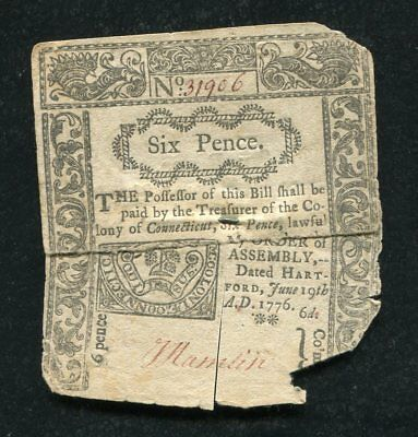 CT-205 JUNE 19, 1776 6p SIX PENCE CONNECTICUT COLONIAL CURRENCY NOTE