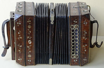 ANTIQUE CHEMNITZER CONCERTINA BANDONEON ACCORDION GERMANY 1900s MOTHER OF PEARL