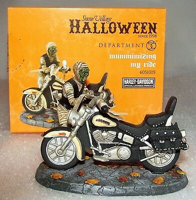 Dept 56.4051019 Halloween MUMMIMIZING MY RIDE Harley Davidson Mint + Box MIB