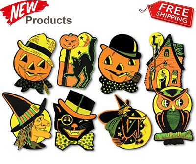 8 Vintage RETRO Styled BEISTLE Repro HALLOWEEN DECORATIONS Die-cut Cutouts NEW