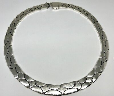 Vintage Taxco Mexico Sterling Silver Heavy Necklace TJ-21