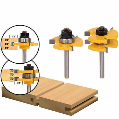 """2x Metal Tongue Groove Router Bit Set 1/4"""" T Shank Woodworking Drill Tool Useful"""