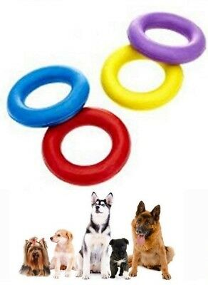 Solid Dog Rubber Ring Heavy Duty Tough Dog Pull Toy Fetch Retrieve Interactive