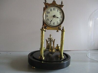 Jahresuhrenfabrik 400 Day Clock On Wooden Base 1908/12  #c