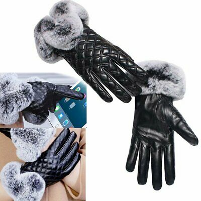 Women Soft Supple Gloves Winter Warm Quality Rabbit Fur Real Leather Lined Black