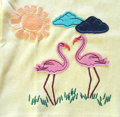 Nwt Hanna Andersson Yellow Ribbed Applique Pink Flamingo Tank Top 120 6 7