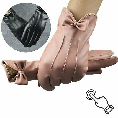 Soft Supple Ladies Womens Fleece Lined Luxury Black 100% Leather Fitted Gloves