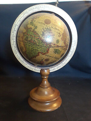 Old Vintage Wood Desktop Spinning Globe, World Globe, Wood Base, Nautical 11""