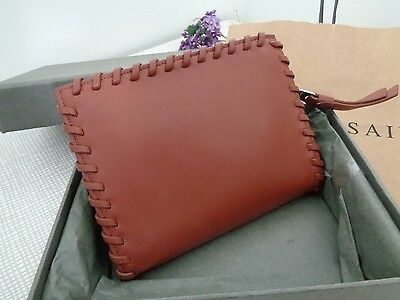 f68eaf54e74 BNWT All Saints Fleur de Lis Brick Brown Small Zip Around Leather Purse RRP  £78