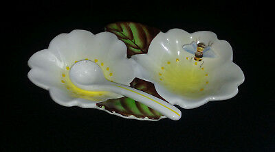 Vintage BEE LEAVES DISH WITH SPOON Lefton ESD Japan