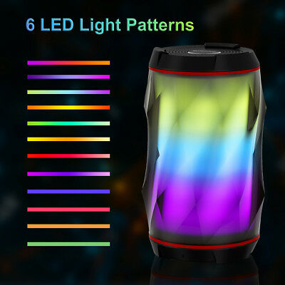 TWS Portable In/Outdoor Bluetooth 6 LED Patterns Stereo Speaker HD Bass Mic AUX