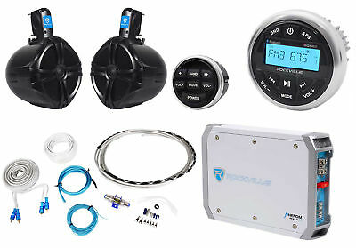 "Rockville RGHR2 Marine Bluetooth Receiver+Remote+8"" Wakeboards+2-Ch Amp+Wire Kit"