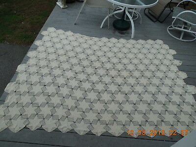 """Antique Hand Crocheted Bed Cover / Table Cloth ???? 101 """" X 73 """" Estate find"""