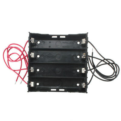 Battery Storage Fall Plastic 4 x 18650 Box Holder Black With 6in Draht Leads AHS