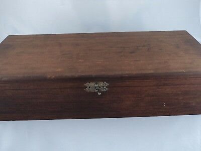 Antique Vintage Hinged Dovetailed Wood Wooden Cigar Box Front Clasp Lock