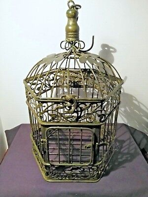 Vintage Metal Hanging Bird Cage Green Wrought Iron Leaf Scrolls Hinged Dome Top