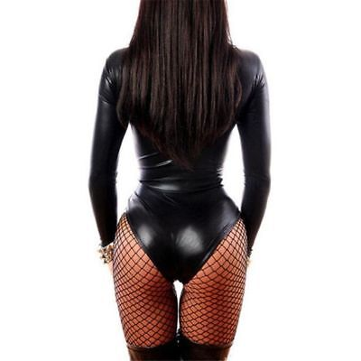 2018 Women Black PU Leather Catsuit Erotic Rubber Bodysuit Female Nightwear