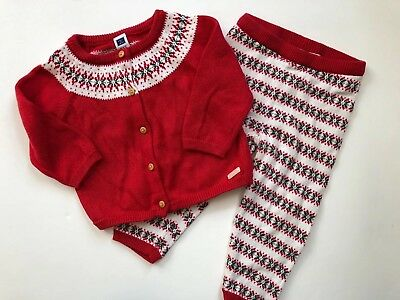 Janie and Jack Sweater 6-12 mon & Knit Pants 12-18 mon- Red Nordic Holiday Set