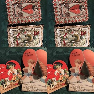 Vintage Lot Of 4 Popout Valentines, Used