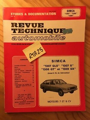 Simca 1307 GLS et S 1308 GT 1309 SX Revue Technique Automobile RTA
