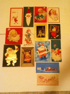 Vintage 14 Santa Christmas Cards & 1 Boy Looking Up The Chimney  Pre Owned Used