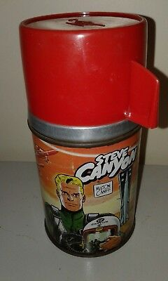 Vintage Metal Lunch Box Thermos Steve Canyon 1959