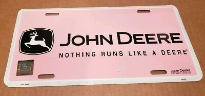 John Deere Pink License Plate With Frame