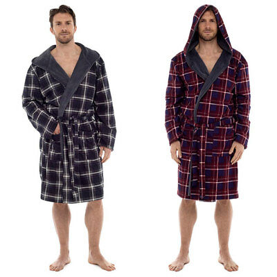 7287a515d5 Wolf   Harte Men s Check Print Flannel Lined Coral Fleece Hooded Bath Robe